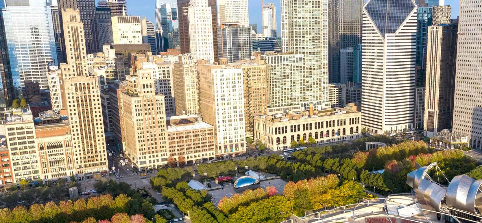 Aerial view of Millenium Park at sunset