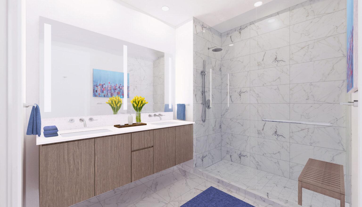 Penthouse B bathroom palette, Scandinavian White