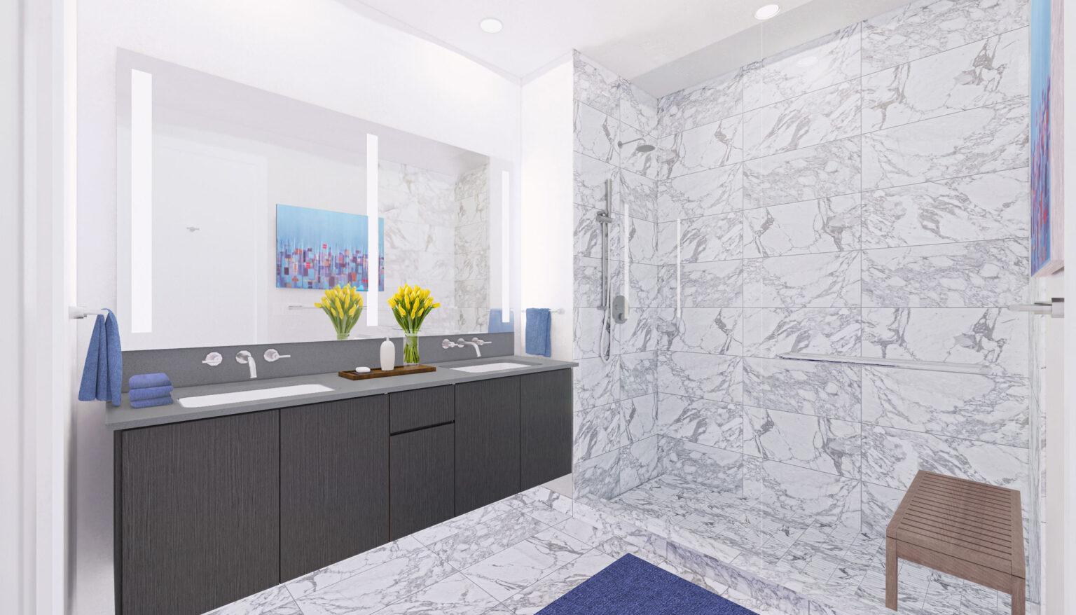 Penthouse B bathroom palette, Chicago Modern