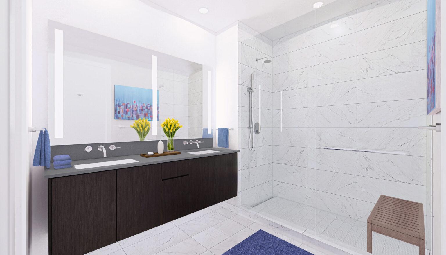 Penthouse B bathroom palette, Rustic Urban