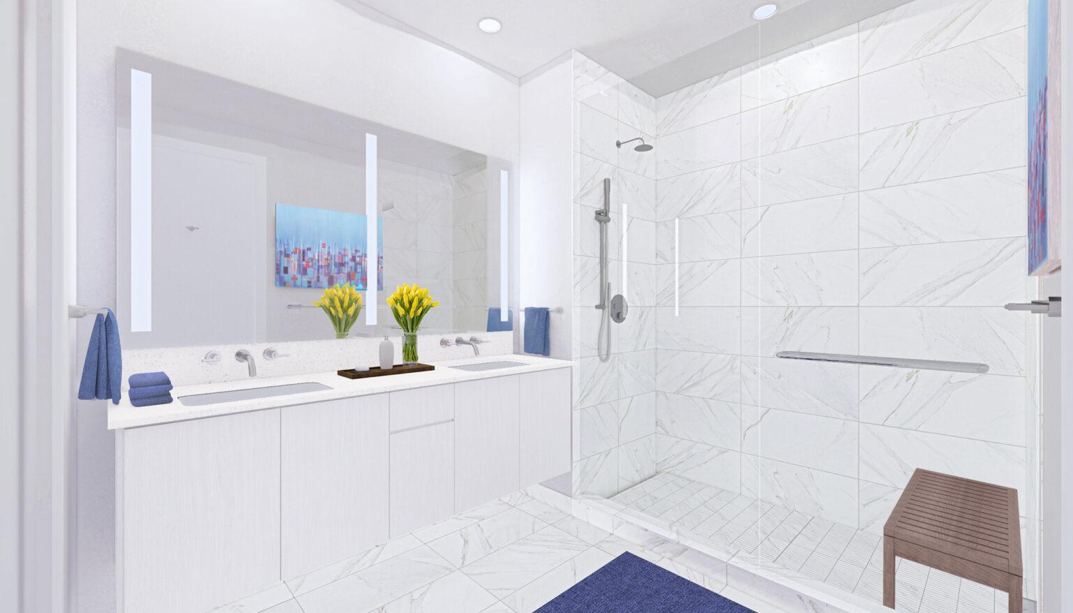 Penthouse B bathroom palette, Minimal White